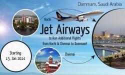 Jet Airways to Run Additional Flights from Kochi & Chennai to Dammam
